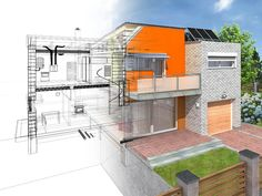 Modern house in the section with visible infrastructure and interior. Outline sketch and rendering. by psynovec, via Shutterstock Soho, Whole House Fan, Apartment Complexes, Property Development, Life Pictures, All Modern, Building A House, Floor Plans, Stairs