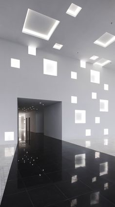 Completed in 2010 in Jinhua, China. Images by Misae HIROMATSU. 'CUBE TUBE' consists of an office building and a restaurant building in the new Economic Development Zone in Jinhua, Zhejiang Province. Light Architecture, Interior Architecture, Interior And Exterior, Chinese Architecture, Concept Architecture, Futuristic Architecture, Light Luz, Interaktives Design, Plafond Design