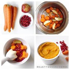 Super delicious Carrot, Apple & pomegranate purée. [7-8m+] I'd serve…