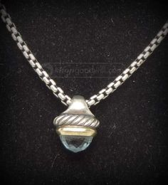 shopgoodwill.com: David Yurman Sterling Silver Topaz Acorn Pendant