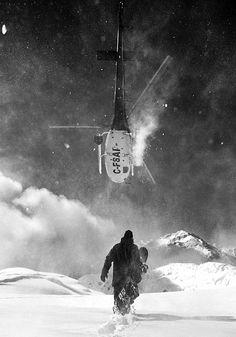 snowboard | helicopter | chopper | snow | snowboard | risk | danger | thrills | thrill | black & white | adventure | nature | mountains
