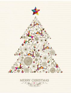 Illustration about Vintage Christmas tree shape with colorful reindeer and retro label greeting card. vector file organized in layers for easy editing. Illustration of music, illustration, animal - 45647858 Christmas Tree Pattern, Christmas Tree Cards, Gold Christmas, Vintage Christmas, Xmas, Human Family Tree, Nature Symbols, Tree Outline, Merry Christmas Background