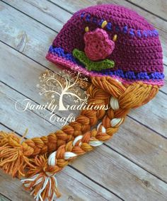 Spring Tulip Hat  - via @Craftsy. New pattern release. Featuring a very spring Inspired tulip hat with optional Braid variation to resemble that of Anna from Frozen. Boutique sells the finished hat and the pattern. www.facebook.com/FamilyTraditionsCrafts