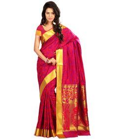 Janasya Red Woven Kanjivaram Silk Wedding Wear Saree