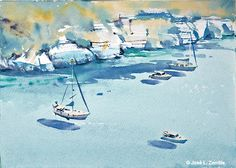 Menorca ( España / Spain ) Menorca, Watercolor Landscape, Watercolor Paintings, Less Is More, Spain, Universe, Simple, Dibujo, Pintura