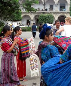Antigua Guatemala Beautiful textiles #travel Such beautiful vivid colors in these textiles - and in the ladies beautiful dresses. I enjoyed my layovers here and my shopping for art and textiles.