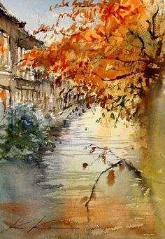 "Watercolor artist Kazuo Kasai (Japanese: 1955)   ""Kyoto Autumn 2012"""