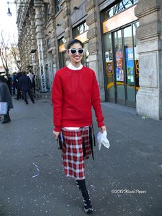 Caroline Issa I am down with your plaid and red jumper situation. Milan. #CarolineIssa