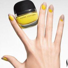 idee deco ongle en jaune et beige, ongle gel deco facile