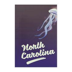North Carolina Jellyfish travel poster Acrylic Print - diy individual customized design unique ideas