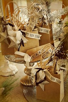 New Year Bags~ This Could Even Be Dual Purposed~Use As A Table Centerpiece~ Once The Party Is Over Your Guests Take  Home A Gift Bag!~ Christie