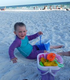 """This cutie was having a ball at the beach. No worries about a sunburn with UV Skinz!"" -Audra D"
