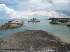 Granite stones over the beaches in Belitung, Indonesia
