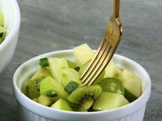 Great Green Fruit Salad       2 tablespoons honey 2 tablespoons olive oil 1 teaspoon lime zest plus 3 Tbsp. fresh juice (from 2 limes) 1 teaspoon Dijon mustard 1/4 teaspoon kosher salt 2 cups honeydew melon cubes 2 medium Granny Smith apples, diced 2 Bartlett pears, diced 2 cups seedless green grapes, halved 1 jalapeño chile, seeded and diced 1 large avocado, diced