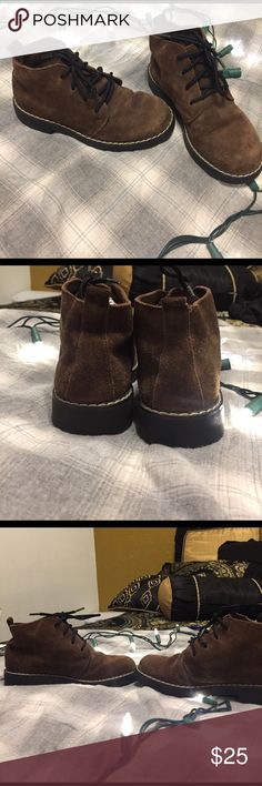Keds Boys Toddler Brown Genuine Suede Boots These booties are in excellent gently used condition. Of course, as any toddler would, my brother scuffed these up a but around the toes and in some random places as shown but it is minimal and adds a rustic feeling to the shoes. Genuine suede leather upper. Great for warm or cold weather and perfect for your child! Please comment any questions or make an offer!! 😊😊 Keds Shoes Boots