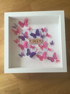 Personalised / handmade named photo frame /Scrabble letters / butterflies - plus P&P 3d Box Frames, Box Picture Frames, Box Frame Art, Deep Box Frames, Diy Frame, Box Art, Scrabble Letter Crafts, Scrabble Wall Art, Scrabble Letters