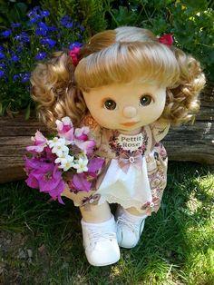 ROSE  my child doll - ash ringlet ponies, brown eyes, peach makeup