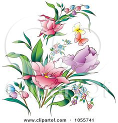 Royalty-Free Vector Clip Art Illustration of Pretty Spring Flowers And Butterflies by pauloribau