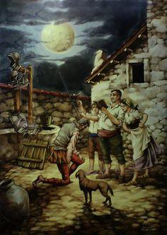 Don Quijote es armado caballero a la luz de la luna es una placa cerámica de la serie conmemorativa del 5º Centenario de la obra de Cervantes realizada por Antonio Martín