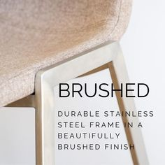 """Fletcher Kitchen Stool """"Create Your Own"""" Form Builder, Kitchen Stools, Brushed Stainless Steel, Walnut Wood, Steel Frame, Body Shapes, Simple Designs, Create Your Own, Chairs"""