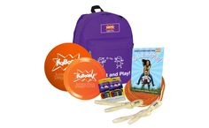 """If you've ever heard """"Mom I'm bored,"""" then the Go Out and Play Essentials backpack by KaBOOM! is a must have! It's full of things for the kids to play with outside like jump ropes, playground ball, sidewalk chalk, and a flying disk. Also include the book Go Out and Play! which has all kinds of outdoor games the kids can try."""