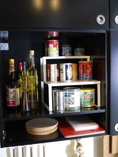 5 Must-Haves for Neat & Organized Small Spaces Shelf inserts. I can't rave enough about these things. I use the IKEA Variera inserts in my own kitchen, and it doubles my spice storage. Spice Storage, Spice Organization, Small Space Organization, Storage Spaces, Organizing Ideas, Storage Ideas, Ikea Black, Small Apartments, Small Spaces
