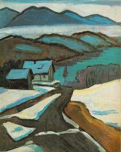 """Blaue Berge und Schnee"" by Gabriele Münter Franz Marc, Wassily Kandinsky, Landscape Art, Landscape Paintings, Cavalier Bleu, August Macke, Art Moderne, Anime Comics, Art Images"