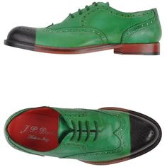 J.P. David Lace-Up Shoes ($145) ❤ liked on Polyvore featuring shoes, green, 2 tone shoes, round cap, leather lace up shoes, green leather shoes and genuine leather shoes