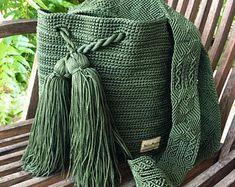 Weaving Techniques, Embroidery Techniques, Knit Crochet, Crochet Bags, Cotton Bag, 1 Piece, Hand Knitting, Backpacks, Fabric