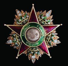 Order of Charity (Nişan-ı Şefkat) (Ottoman Empire) – First Class star (most likely an altered 2nd class badge) bestowed upon Leila Jessie von Heidenstam (1849-1921), wife of Oskar Gustav von Heidenstam, Swedish Envoy to Constantinople (Gold, enamels, diamonds, 57mm, circa 1876-1883) From the collection of Ayhan Özcan (obverse)