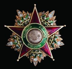 Order of Charity (Nişan-ı Şefkat) (Ottoman Empire) – First Class star (most likely an altered 2nd class badge) bestowed upon Leila Jessie von Heidenstam (1849-1921), wife of Oskar Gustav von Heidenstam, Swedish Envoy to Constantinople (Gold, enamels, diamonds, 57mm, circa 1876-1883) From the collection of Ayhan Özcan (obverse)