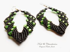Green Leaf - orecchini a macramè - micromacramè earrings