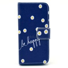 Cross Texture Magnetic Wallet Style Flip Stand TPU+PU Leather Case for iPhone 5 5s (Chrysanthemum and Be Happy)