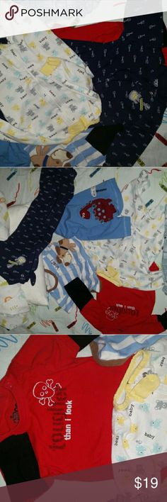 Newborn to 6/9 months boys lot euc Everything is newborn to 3 months. Long sleeve skeleton is cute for Halloween.  Only thing 6 months is rocker guitar feetie pjs and th blended color pants are 9 months. All r in perfect condition.  Includes cute onsie top with soft dog patched on,cute lil feetie pjs w/yellow and blue. Those were 1 of my favs on.:) I miss it. Tougher than I look w/skeleton has long black sleeves. All adorable for a new or baby on the way:) Shirts & Tops