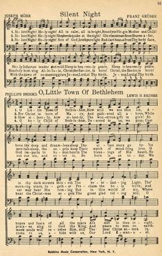 "Christmas Sheet Music - ""Silent Night"" and ""O Little Town of Bethlehem"" (Note from previous pinner: printable Christmas music pages) Christmas Sheet Music, Noel Christmas, Christmas Wrapping, Antique Christmas, Free Christmas Cards, Xmas Music, Christmas Lyrics, Christmas Night, Primitive Christmas"