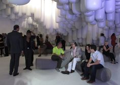 Snarkitecture created a pavilion of white vinyl tubes at the entrance of the Design Miami fair.