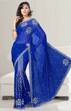 Ready pleated saree in royal blue color. Buy Now - http://www.gravity-fashion.com/1191-ready-pleated-saree-in-royal-blue-color.html