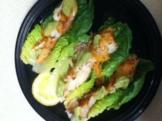 Lettuce wrap fish tacos topped with my homemade Avocado,Cilantro,Lime sauce. And fresh lemon. Low carb, Healthy meal