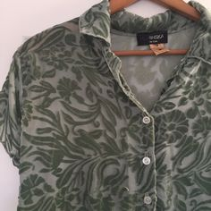 Cut Velvet Top Cut velvet top from NYC Huminska Boutique. Sheer fabric with sage green floral cut velvet. Great over black shell any black pants or skirt, or with jeans. No size tag, but it is Medium. Huminska Tops