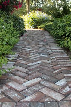 Herringbone pattern handmade brick in walkway at Old Salem, NC. www.handmadebrick.com
