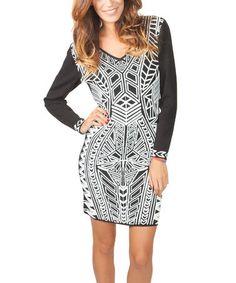 Look what I found on #zulily! Black & Ivory Geo V-Neck Dress by Yuka Paris #zulilyfinds