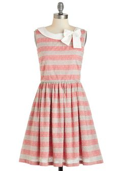 Head Bow-ver Heels Dress by Knitted Dove - Stripes, Bows, Casual, Sleeveless, Cotton, Mid-length, Red, Grey, White, Pockets, A-line, Boat, Daytime Party, Vintage Inspired, Pink, Tan / Cream, Top Rated