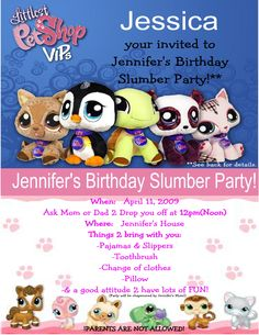 """Made this """"Littlest Pet Shop"""" slumber party invitation for my daughter's 9th birthday. It was a 5x7 the top was the front and the bottom the back of the invitation."""