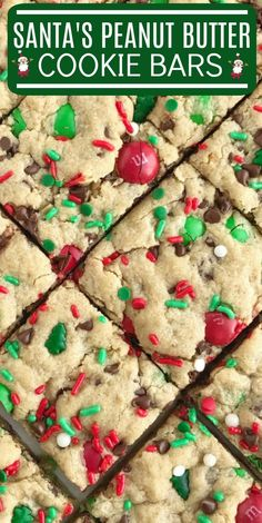 Santa's cookie bars are perfect for Christmas Eve on the cookie plate! A soft baked peanut butter cookie bar with oats, chocolate, peanut butter m&m's. New Year's Desserts, Cookie Desserts, Holiday Desserts, Holiday Baking, Holiday Treats, Holiday Recipes, Candy Recipes, Cookie Cake Recipes, Good Recipes