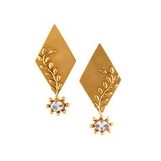 Suhani Pittie Gold Diamond Shaped Foliage Stud Earrings with Crystals