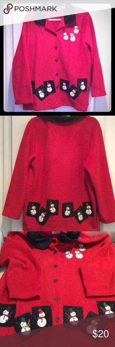 """BAXTER & WELLS PETITE XMAS JACKET BEAUTIFUL UGLY XAMS JACKET IN RED MED WEIGHT FLEECE WITH ADORABLE SNOWMEN EMBRODERY ALL OVER JACKET FRONT AND BACK AND UP AT ONE TOP. LONG SLEEVES. GOOD CONDITION. 50"""" BUST 47""""WAIST 28"""" LONG. baxter & wells petite Jackets & Coats"""