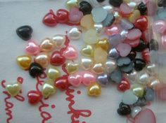 Super Tiny Pearlized heart cabochons Assorted Mix 4mm 4 grams about 200pcs