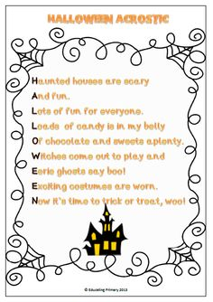 halloween acrostic poem as part of my halloween poems pack bundle this one is available - Good Halloween Poems
