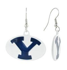 White BYU Oval Y Fish Hook Earrings