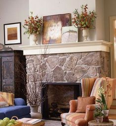 stone fireplace not all the way to the ceiling.  Another way to trim it out